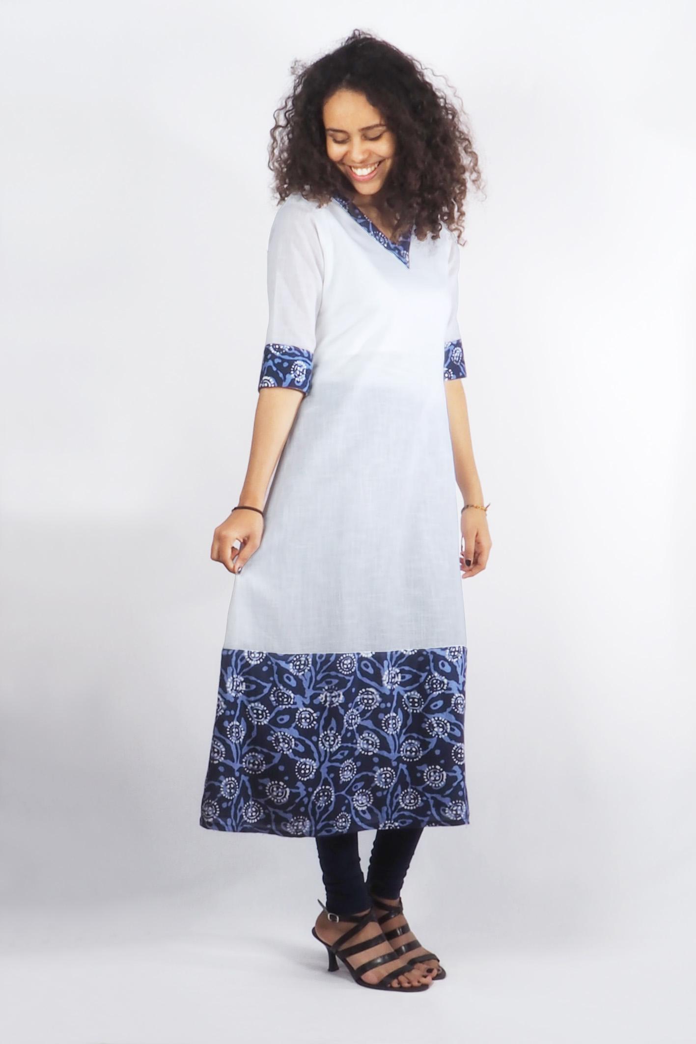 "indisches kleid ""bhuvi"" sommerkleid halblang in weiß"